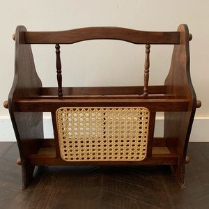 Vintage Wood and Cane Magazine Rack